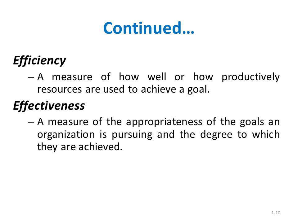 1-10 Continued… Efficiency – A measure of how well or how productively resources are used to achieve a goal. Effectiveness – A measure of the appropri
