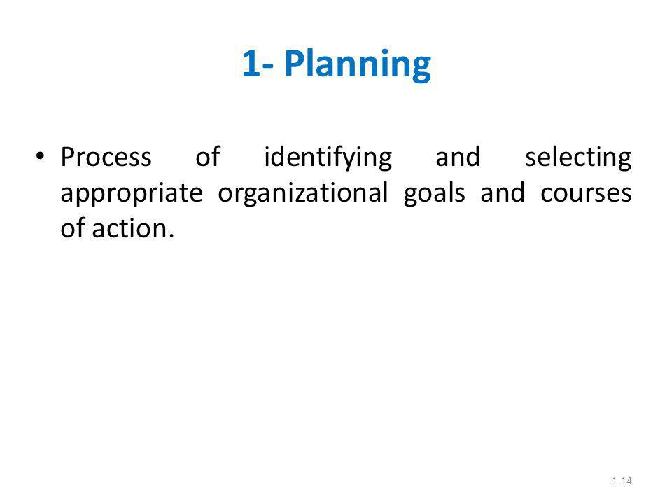 1-14 1- Planning Process of identifying and selecting appropriate organizational goals and courses of action.