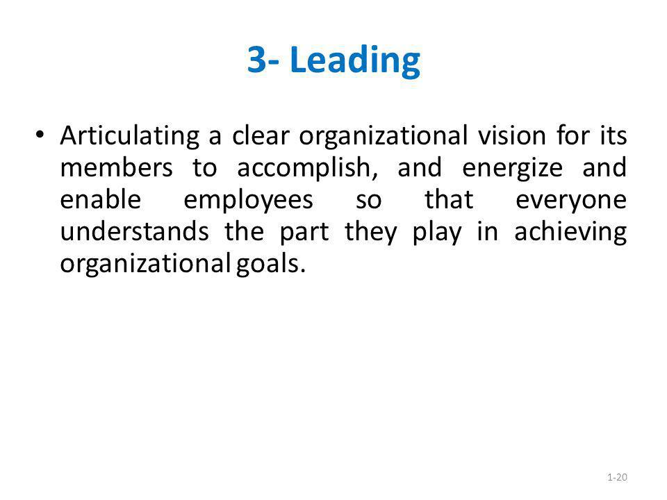 1-20 3- Leading Articulating a clear organizational vision for its members to accomplish, and energize and enable employees so that everyone understan
