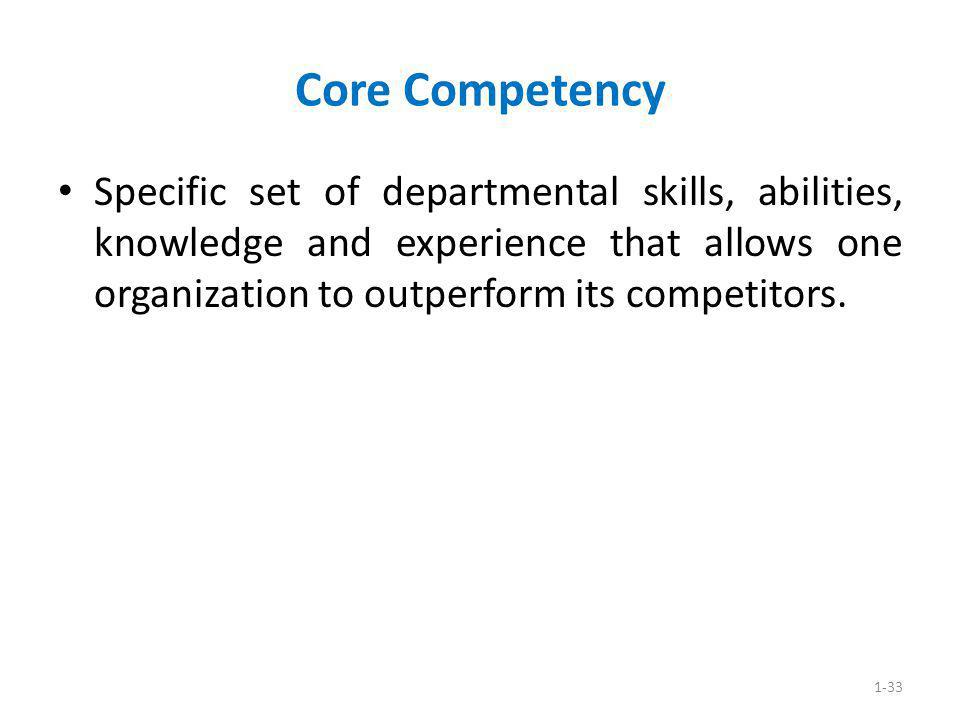 1-33 Core Competency Specific set of departmental skills, abilities, knowledge and experience that allows one organization to outperform its competito