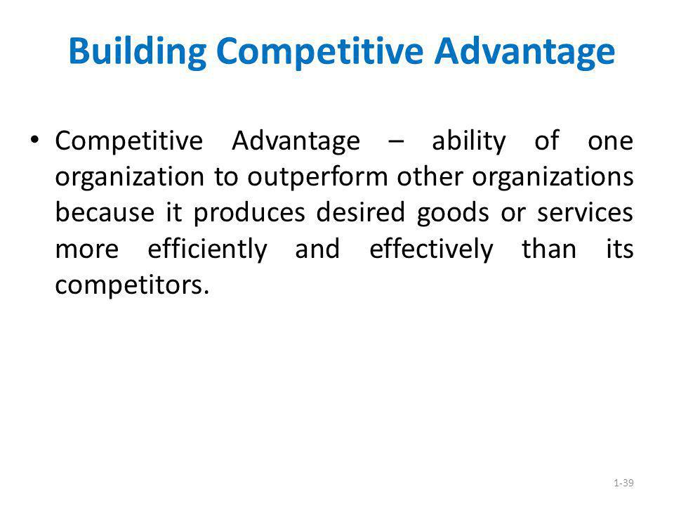 1-39 Building Competitive Advantage Competitive Advantage – ability of one organization to outperform other organizations because it produces desired