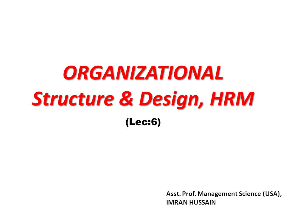 Organizational Designs (cont'd) Contemporary Organizational Designs: – Team structures The entire organization is made up of work groups or self- managed teams of empowered employees.