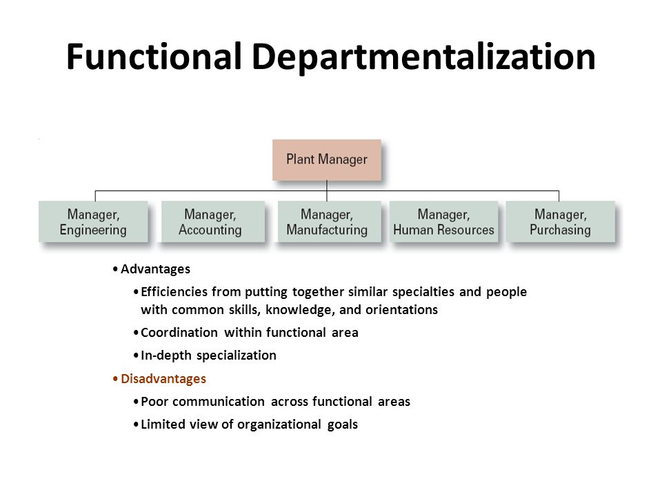 Common Organizational Designs Traditional Designs: – Simple structure: Low departmentalization, wide spans of control, centralized authority, little formalization – Functional structure: Departmentalization by function – Operations, finance, human resources, and product research and development – Divisional structure: Composed of separate business units or divisions with limited autonomy under the coordination and control the parent corporation.