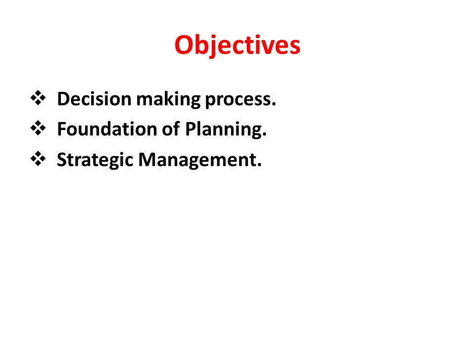 Planning Planning is the process of establishing goals and a suitable course of action to achieve these goals.