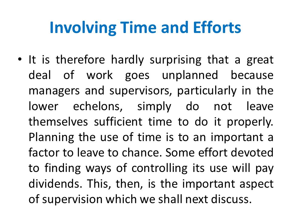 Planning via Use Of Time