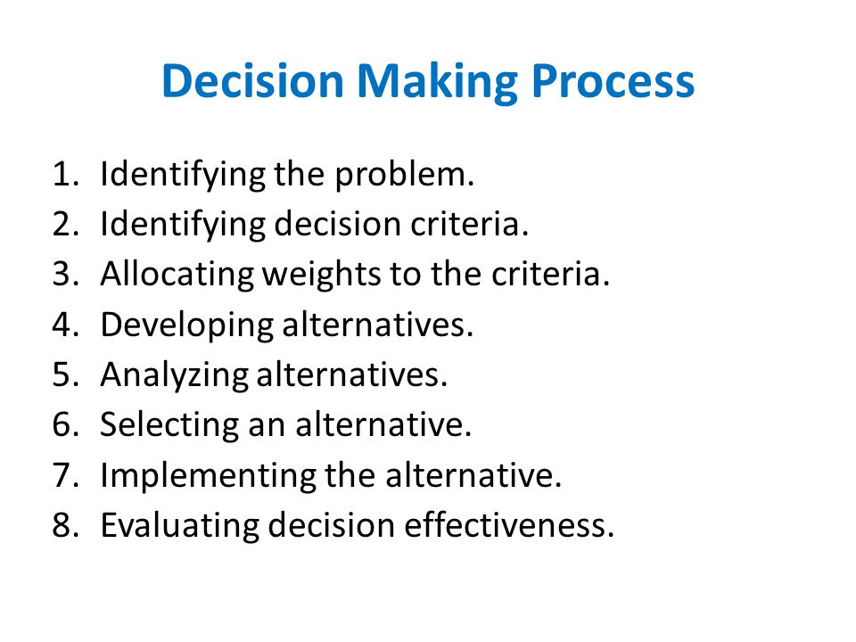 Decision Making Process 1.Identifying the problem.