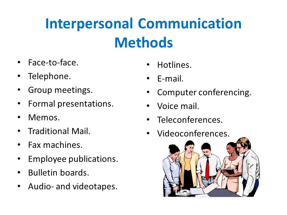Interpersonal Communication Methods Face-to-face. Telephone. Group meetings. Formal presentations. Memos. Traditional Mail. Fax machines. Employee pub