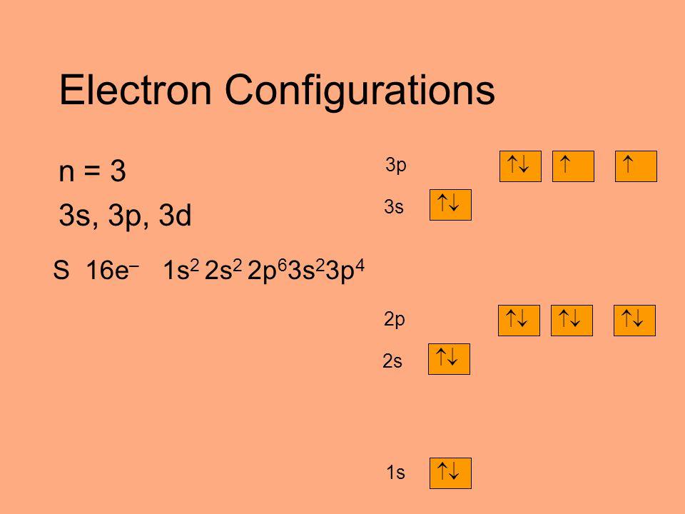 Electron Configurations n = 3 3s, 3p, 3d S 16e – 1s 2 2s 2 2p 6 3s 2 3p 4  1s  2s  2p  3s  3p