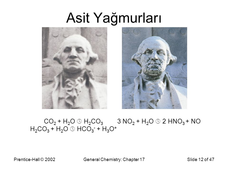 Prentice-Hall © 2002General Chemistry: Chapter 17Slide 12 of 47 Asit Yağmurları CO 2 + H 2 O  H 2 CO 3 H 2 CO 3 + H 2 O  HCO 3 - + H 3 O + 3 NO 2 + H 2 O  2 HNO 3 + NO