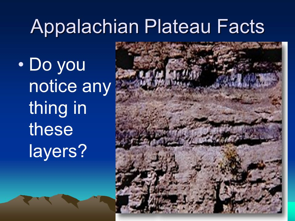 Appalachian Plateau Facts Do you notice any thing in these layers?