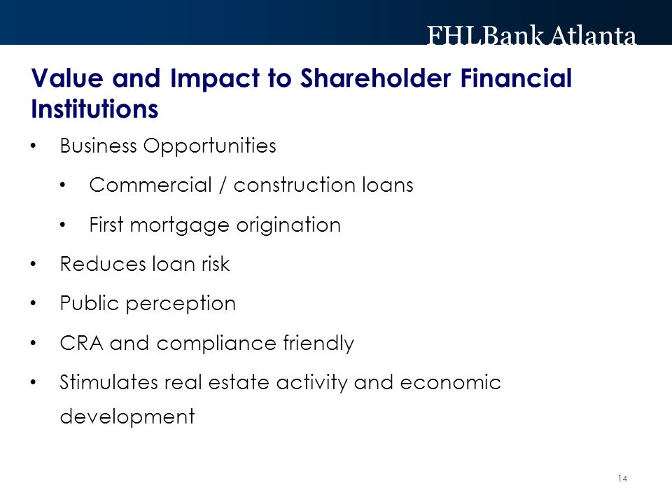 FHLBank Atlanta Value and Impact to Shareholder Financial Institutions Business Opportunities Commercial / construction loans First mortgage origination Reduces loan risk Public perception CRA and compliance friendly Stimulates real estate activity and economic development 14
