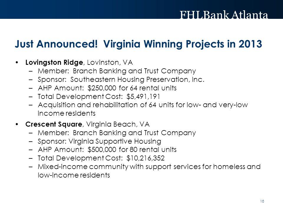 FHLBank Atlanta Just Announced! Virginia Winning Projects in 2013 Lovingston Ridge, Lovinston, VA –Member: Branch Banking and Trust Company –Sponsor: