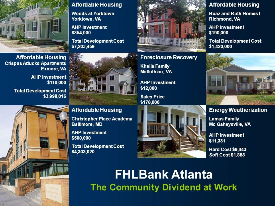 FHLBank Atlanta Affordable Housing Christopher Place Academy Baltimore, MD AHP Investment $500,000 Total Development Cost $4,303,020 23 FHLBank Atlant