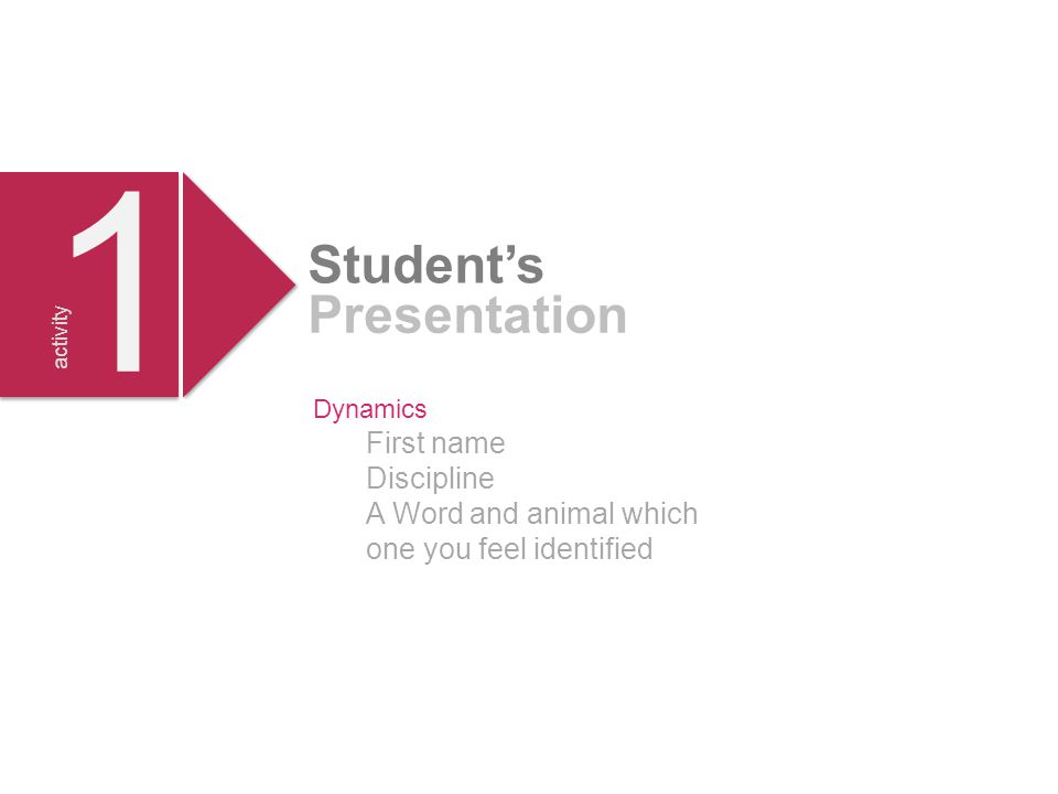 Dynamics First name Discipline A Word and animal which one you feel identified 1 1 Student's Presentation activity