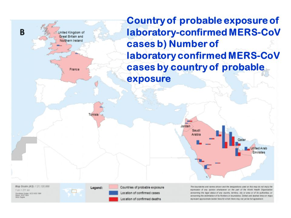 Country of probable exposure of laboratory-confirmed MERS-CoV cases b) Number of laboratory confirmed MERS-CoV cases by country of probable exposure
