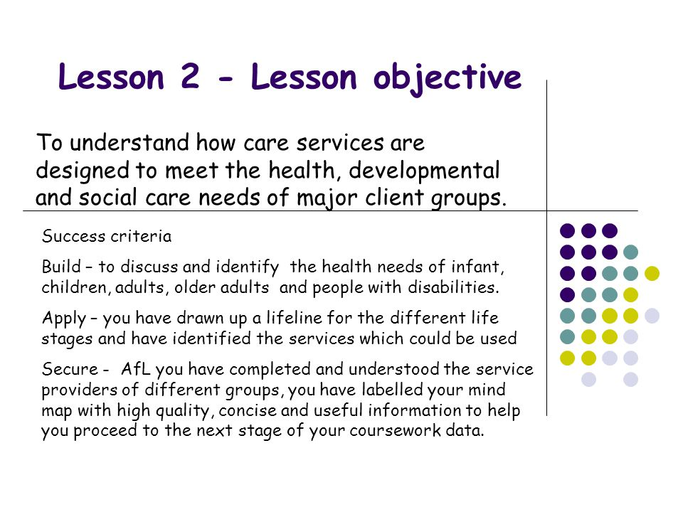 Lesson 2 - Lesson objective To understand how care services are designed to meet the health, developmental and social care needs of major client groups.