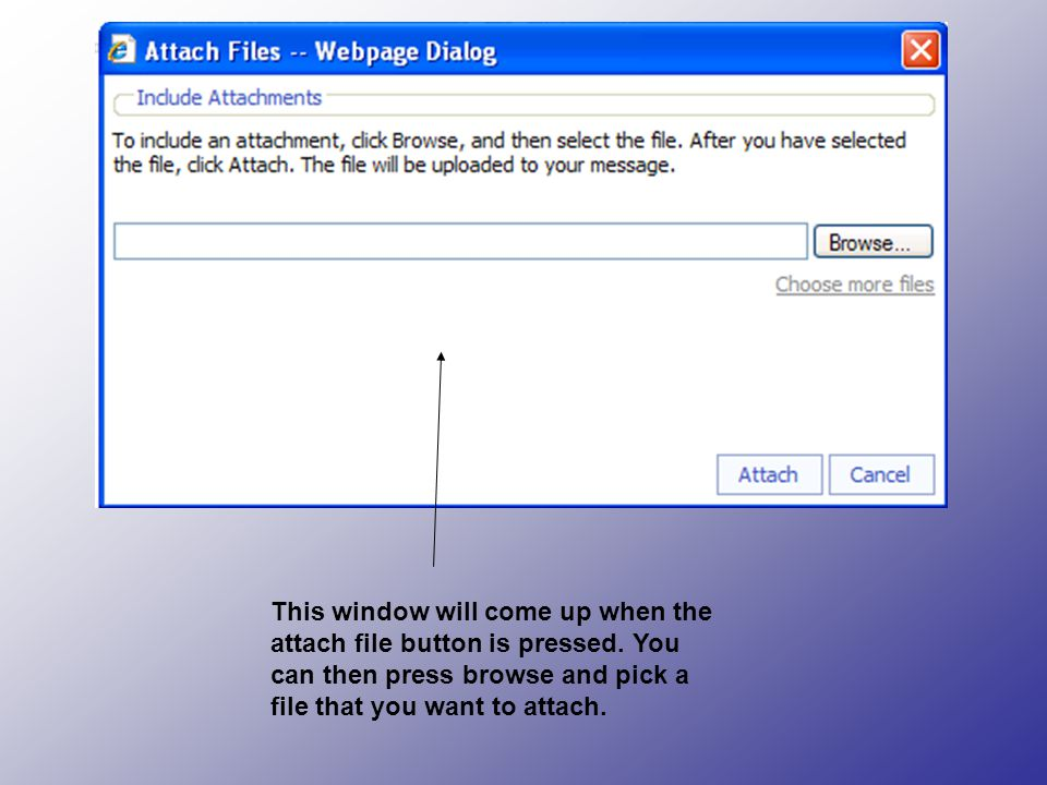 This window will come up when the attach file button is pressed.