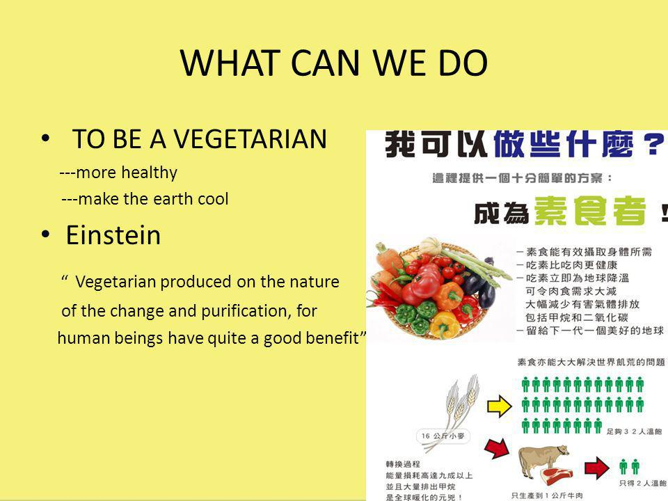 WHAT CAN WE DO TO BE A VEGETARIAN ---more healthy ---make the earth cool Einstein Vegetarian produced on the nature of the change and purification, for human beings have quite a good benefit