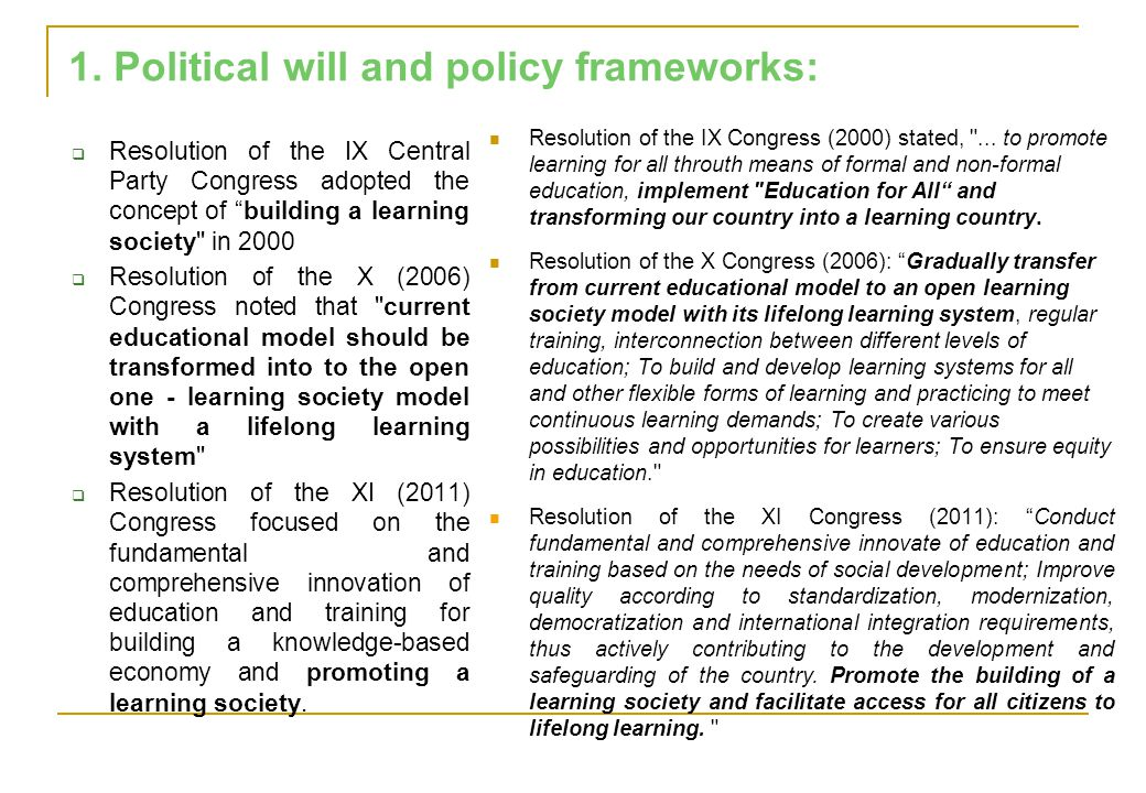 " Resolution of the IX Central Party Congress adopted the concept of ""building a learning society"