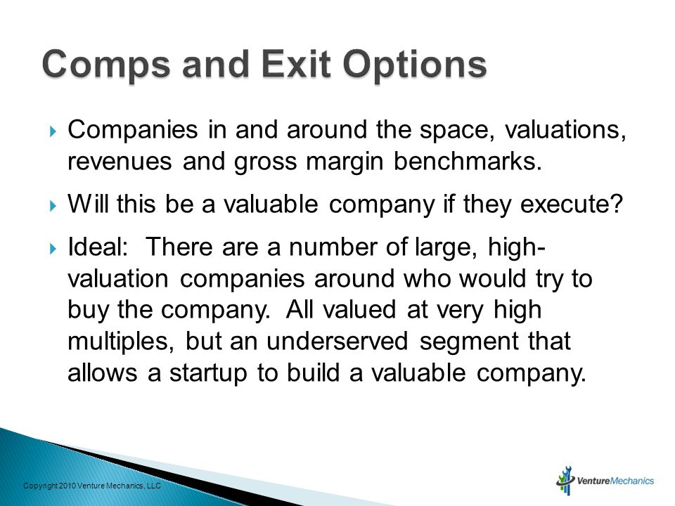  Companies in and around the space, valuations, revenues and gross margin benchmarks.  Will this be a valuable company if they execute?  Ideal: The