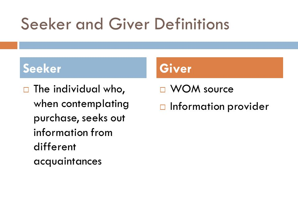 Seeker and Giver Definitions  The individual who, when contemplating purchase, seeks out information from different acquaintances  WOM source  Information provider SeekerGiver