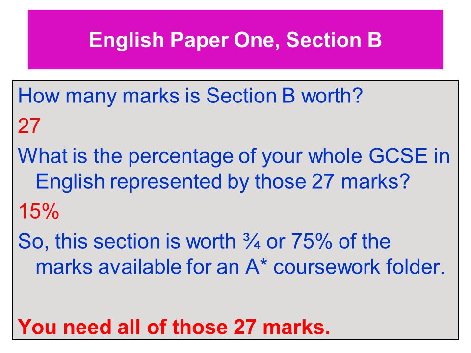 English Paper One, Section B How many marks is Section B worth.