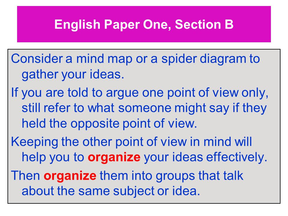 English Paper One, Section B Consider a mind map or a spider diagram to gather your ideas.