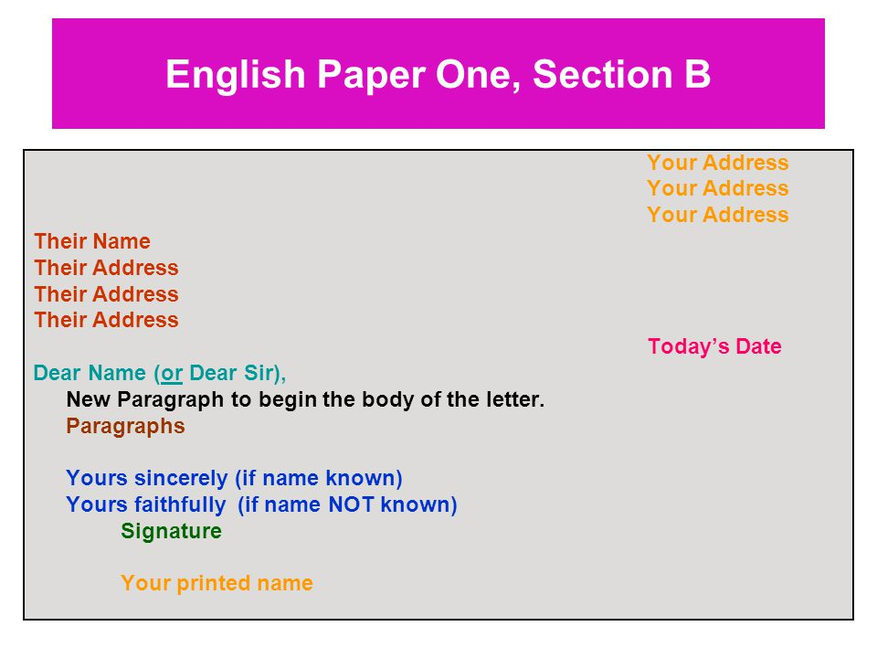 English Paper One, Section B Your Address Their Name Their Address Today's Date Dear Name (or Dear Sir), New Paragraph to begin the body of the letter.