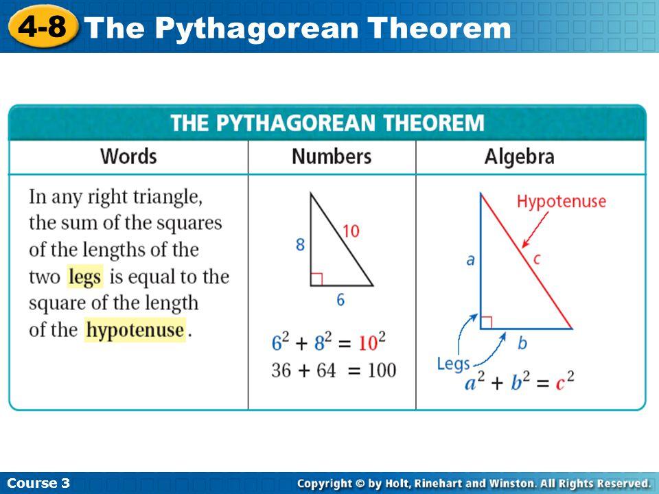 Course 3 4-8 The Pythagorean Theorem