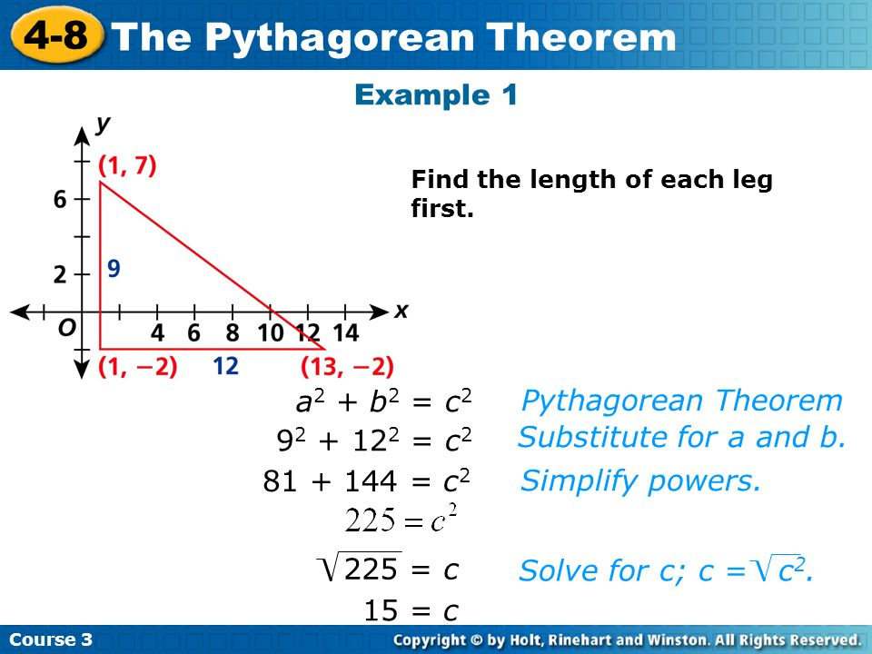 Course 3 4-8 The Pythagorean Theorem 15 = c Pythagorean Theorem Substitute for a and b.