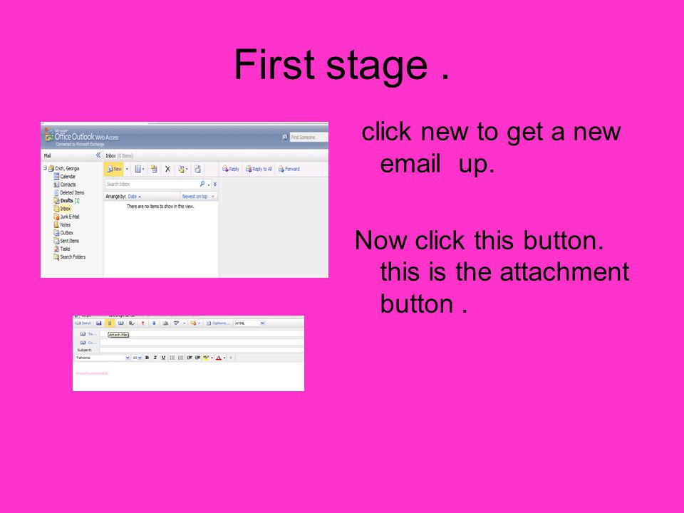 First stage. click new to get a new email up. Now click this button. this is the attachment button.