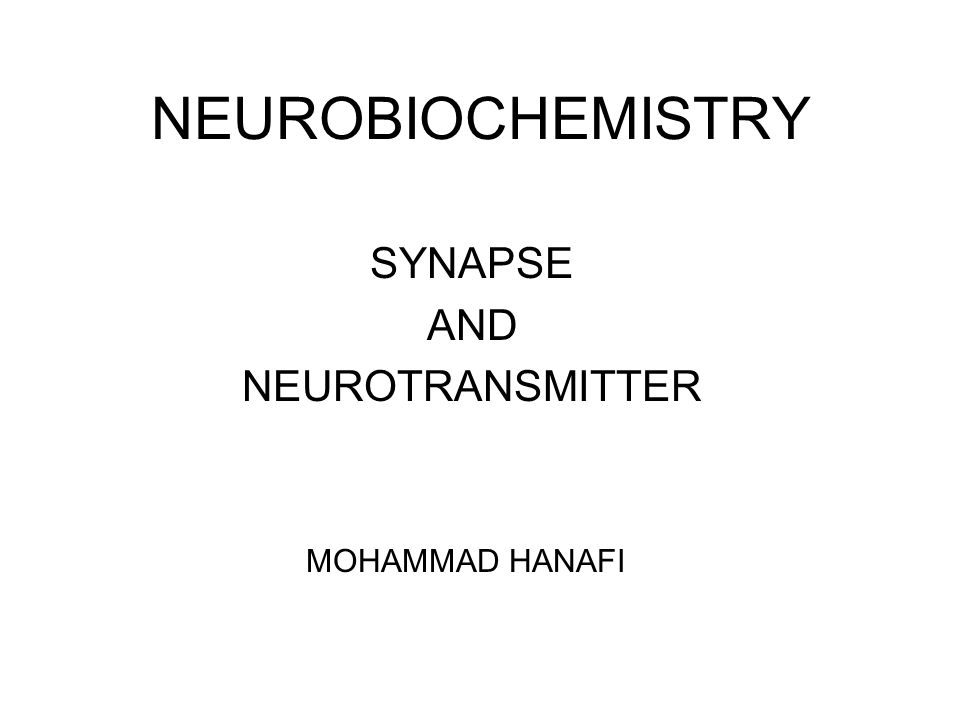 NEUROBIOCHEMISTRY SYNAPSE AND NEUROTRANSMITTER MOHAMMAD HANAFI