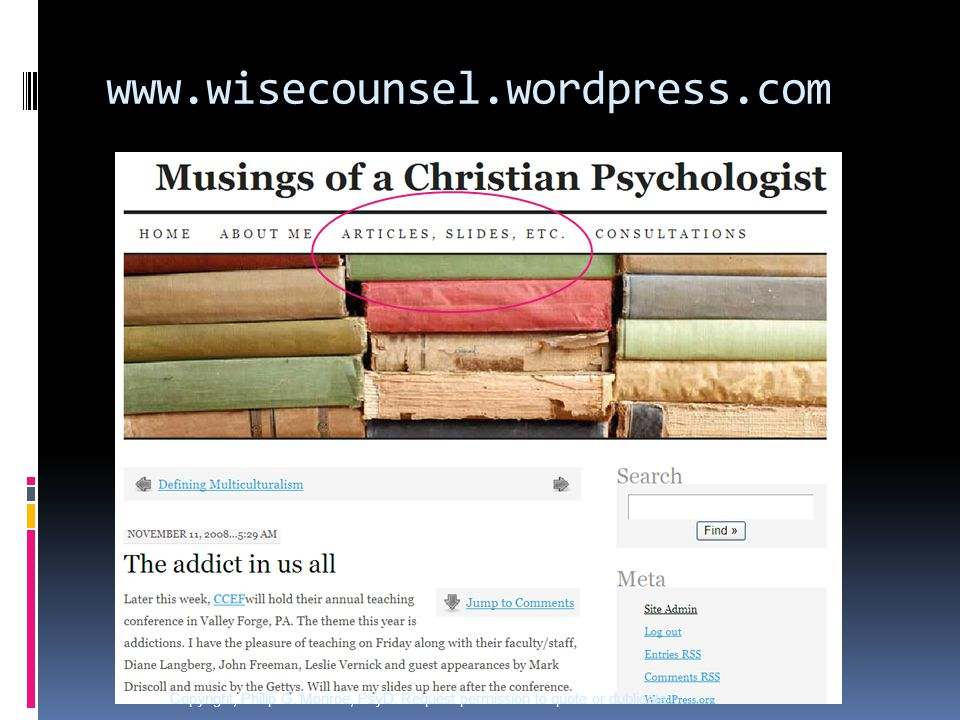 www.wisecounsel.wordpress.com Copyright, Philip G.