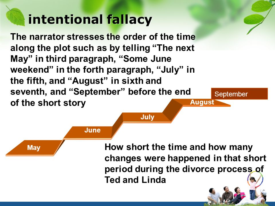 intentional fallacy The narrator stresses the order of the time along the plot such as by telling The next May in third paragraph, Some June weekend in the forth paragraph, July in the fifth, and August in sixth and seventh, and September before the end of the short story How short the time and how many changes were happened in that short period during the divorce process of Ted and Linda May June July August September