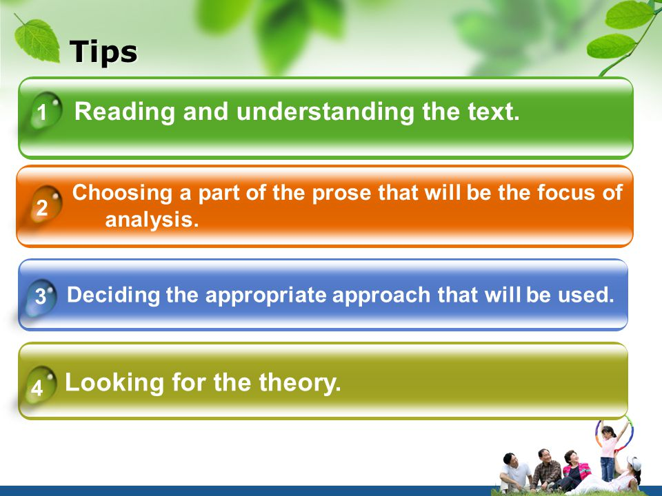 Tips Reading and understanding the text.