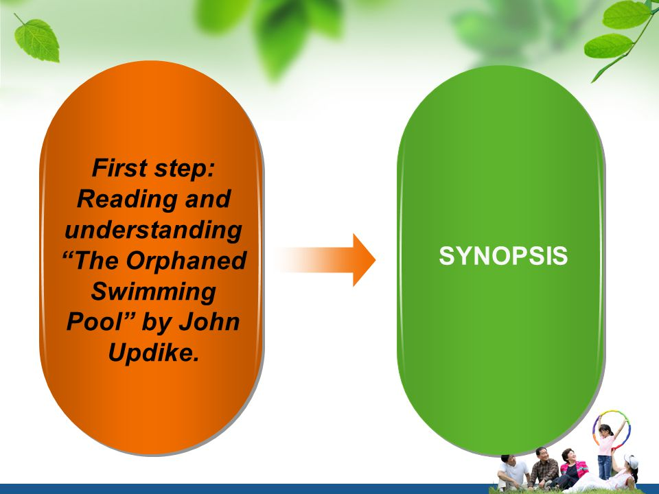 First step: Reading and understanding The Orphaned Swimming Pool by John Updike. SYNOPSIS