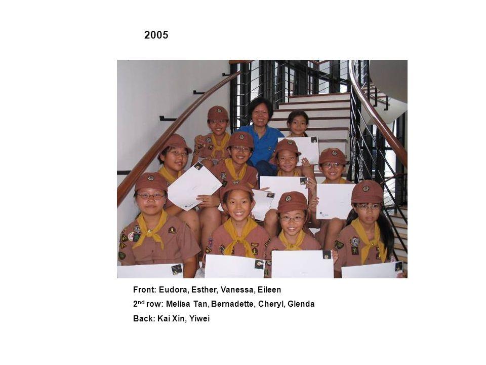 L to R: Felicia, Dorita, Joelle, Rachel Ang, Jelena, Vanessa, Rachel Sim 2003 L to R: Amanda, Yi Tong, Xinyi, Eunice, Fangwei, Levinia, Charmaine, Rachel, Valerie, Steffi 2004