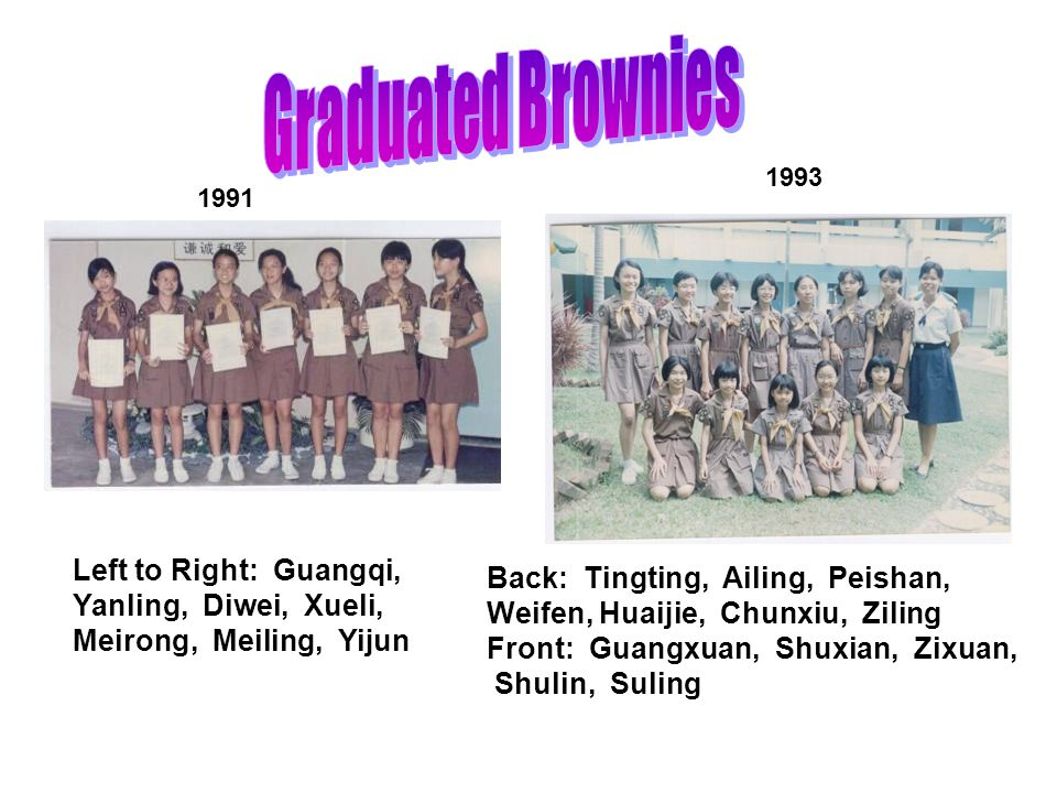 The Holy Innocents' Primary School Brownie Story Once upon a time, in 1989 The first batch of brownies was registered as 1 st Pack, Upper Thomson Dist