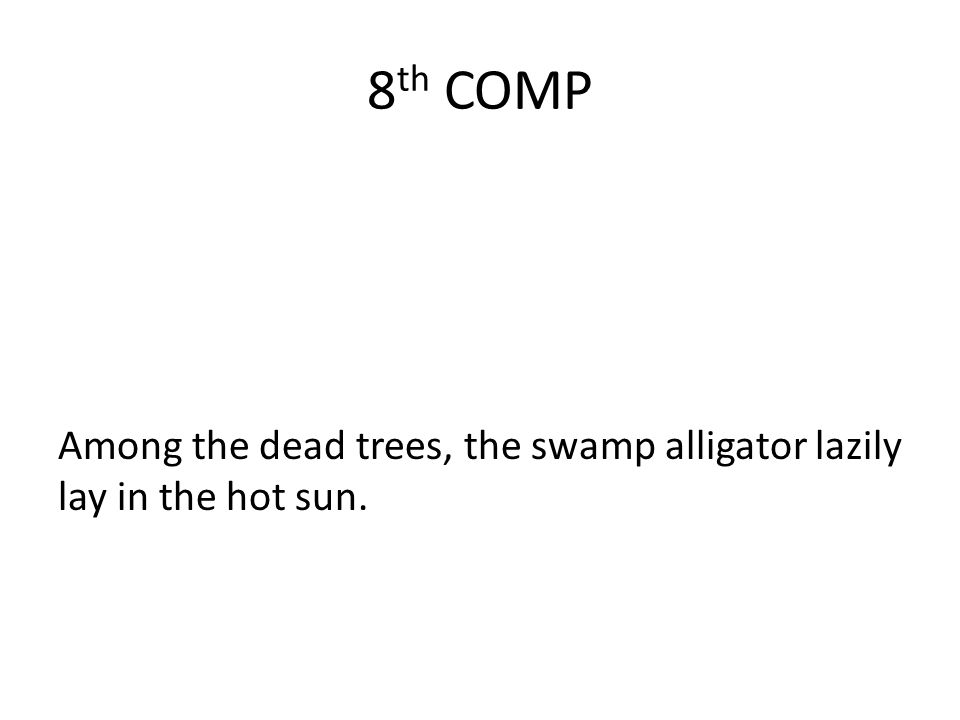 8 th COMP Among the dead trees, the swamp alligator lazily lay in the hot sun.