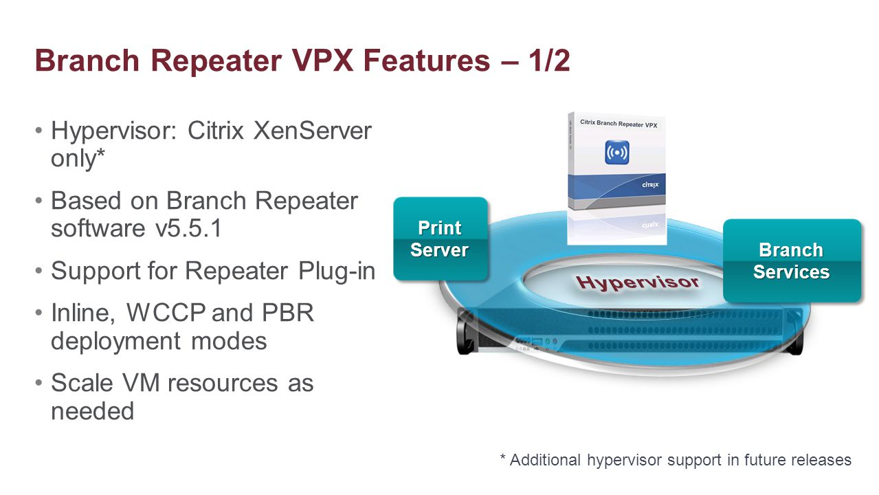 Hypervisor: Citrix XenServer only* Based on Branch Repeater software v5.5.1 Support for Repeater Plug-in Inline, WCCP and PBR deployment modes Scale V