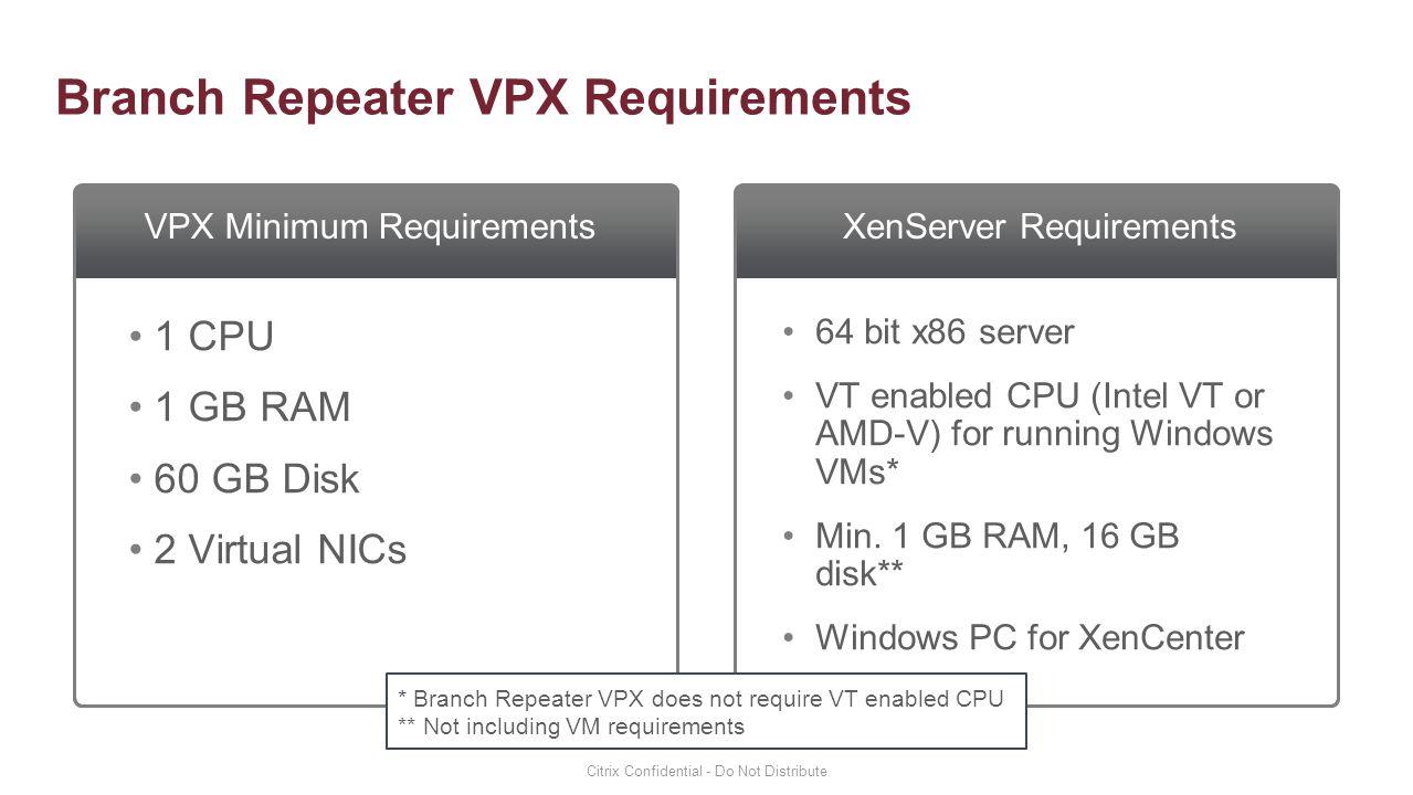 Branch Repeater VPX Requirements VPX Minimum RequirementsXenServer Requirements 1 CPU 1 GB RAM 60 GB Disk 2 Virtual NICs 64 bit x86 server VT enabled