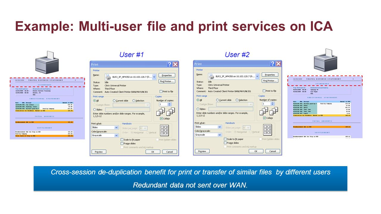 Example: Multi-user file and print services on ICA Cross-session de-duplication benefit for print or transfer of similar files by different users Redu