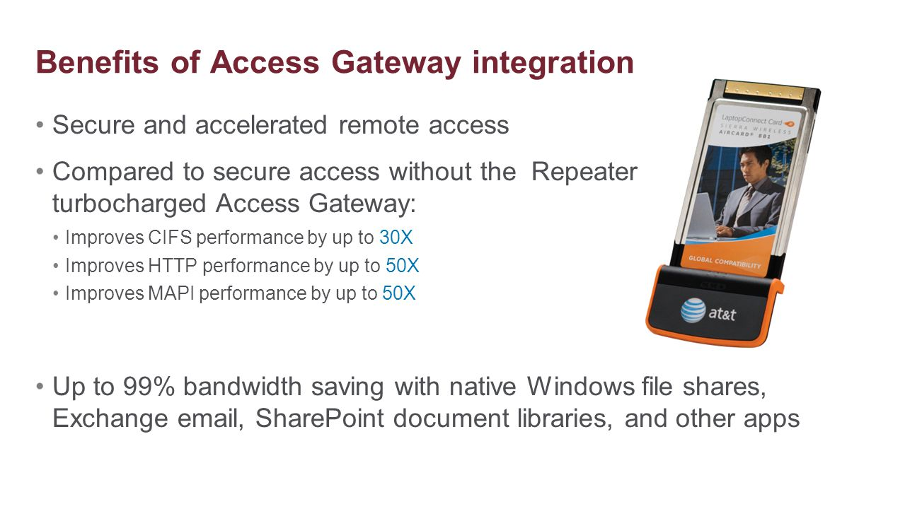 Secure and accelerated remote access Compared to secure access without the Repeater Plug-in, a turbocharged Access Gateway: Improves CIFS performance
