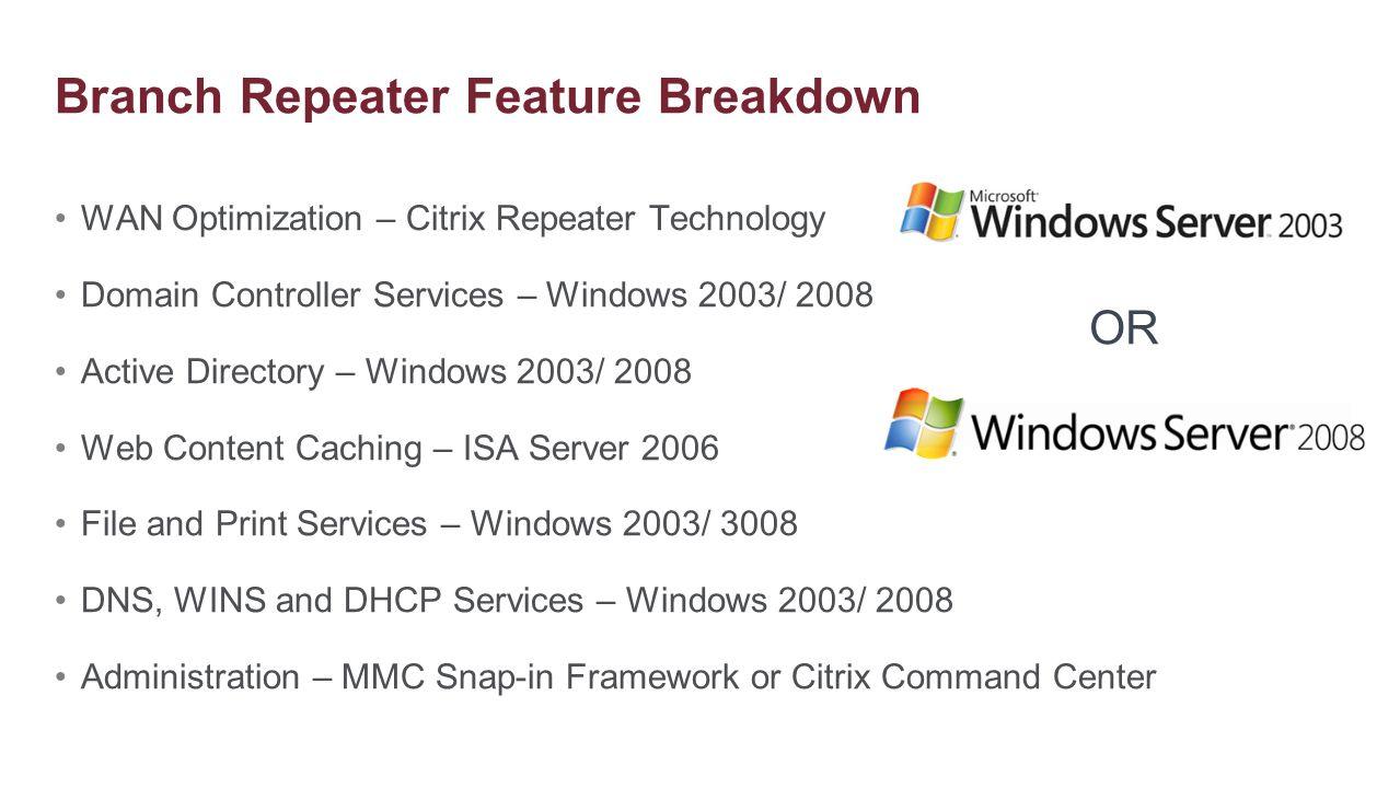WAN Optimization – Citrix Repeater Technology Domain Controller Services – Windows 2003/ 2008 Active Directory – Windows 2003/ 2008 Web Content Cachin