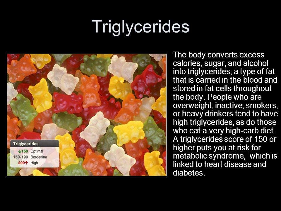 Triglycerides The body converts excess calories, sugar, and alcohol into triglycerides, a type of fat that is carried in the blood and stored in fat c