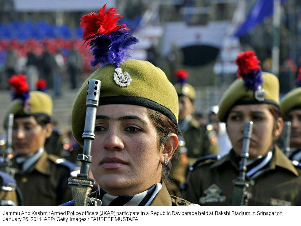 An Indian paramilitary contingent marches during the Republic Day celebrations in Bangalore, India, Wednesday, Jan.