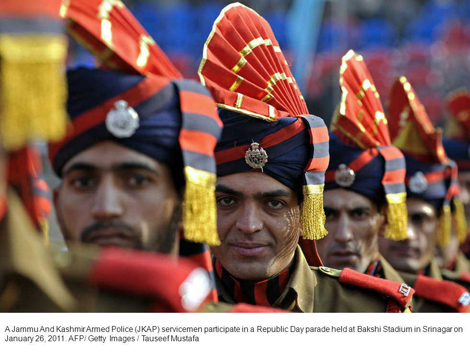 Jammu And Kashmir Armed Police officers (JKAP) participate in a Republic Day parade held at Bakshi Stadium in Srinagar on January 26, 2011. AFP/ Getty