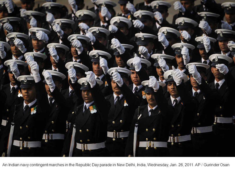 Indian army soldiers of Sikh Light Infantry Regiment march during the Republic Day parade in New Delhi, India, Wednesday, Jan. 26, 2011. AP / Manish S