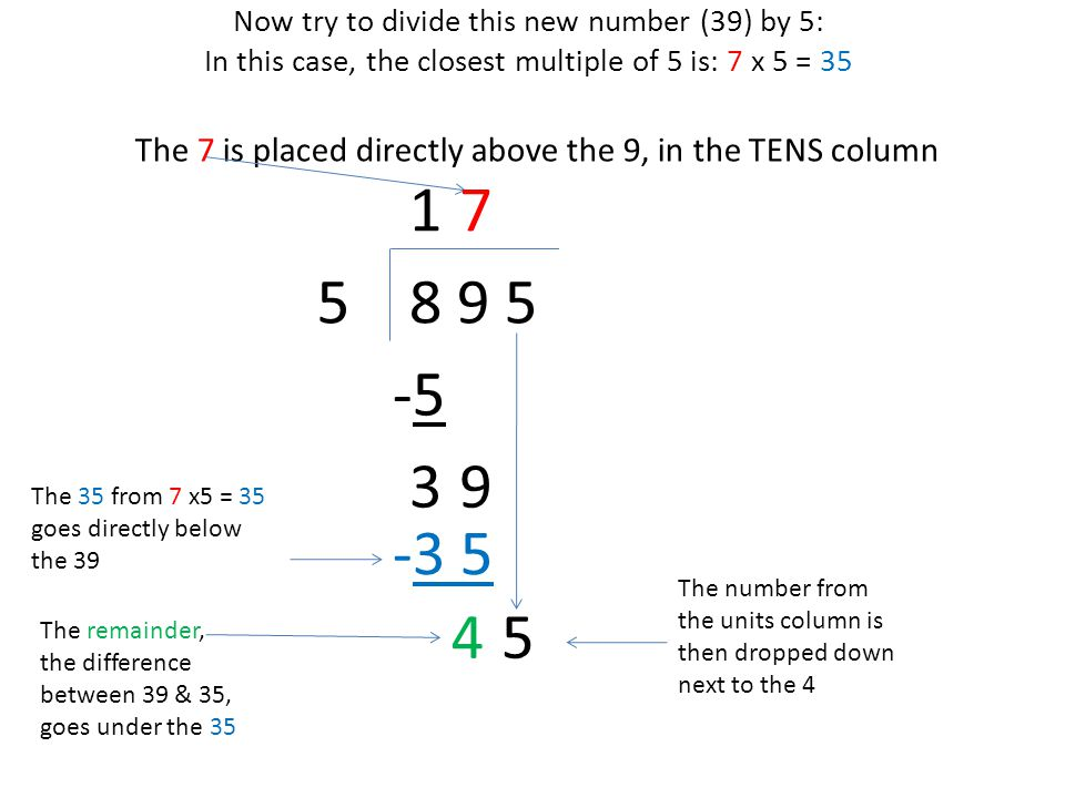 Now try to divide this new number (45) by 5: In this case, 9 x 5 = 4 5 8 9 55 The 9 is placed directly above the 5, in the UNITS column 1 The 45 from 9 x5 = 45 goes directly below the 45 -5-5 3 In this question there is no remainder, 9 7 -3 5 45 9 -4 5 0 so 895 ÷ 5 = 179 For more maths help visit: www.y6maths.blogspot.com
