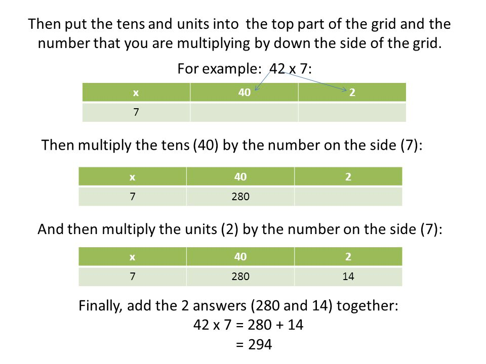 Then put the tens and units into the top part of the grid and the number that you are multiplying by down the side of the grid. For example: 42 x 7: x